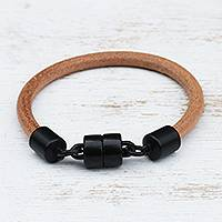 Leather wristband bracelet, 'Natural Encounter' - Contemporary Leather Bracelet with Black Clasp