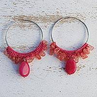 Rose quartz and cherry quartz hoop earrings, 'Cherry Crochet' - Brazilian Crochet Cherry & Rose Quartz Silver Hoop Earrings