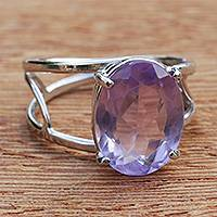 Amethyst cocktail ring, 'Violet Spirit' - Brazilian Amethyst and Rhodium Plated Sterling Silver Ring