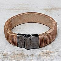Leather wristband bracelet, 'Copacabana Chic' - Beige Leather Wristband Bracelet from Brazil
