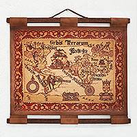 Leather wall map, 'Orbis Terrarum' - Hand Crafted Reproduction Leather Wall Map