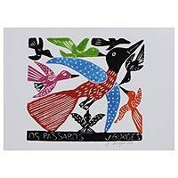 'The Birds IV' - J. Borges Bright Birds Woodcut Print from Brazil