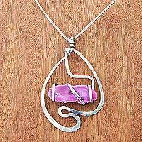 Agate pendant necklace, 'Tickled Pink' - Pink Agate and Stainless Steel Necklace
