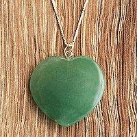Aventurine long pendant necklace, 'Calm Heart' - 925 Silver and Green Aventurine Heart Necklace from Brazil