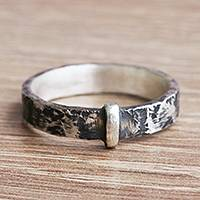 Silver band ring, 'Rough Road' - Rustic Modern Silver Band Ring