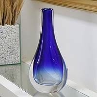 Handblown art glass vase, 'Modern Blue Teardrop' - Murano Inspired Blue Handblown Vase