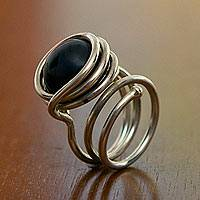 Onyx cocktail ring, 'Earth' - Onyx cocktail ring