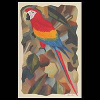 'Parrot' - Red Macaw Brazilian Original Cubist Painting