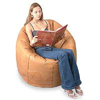 Leather beanbag chair cover, 'Holiday' (single) - Leather beanbag chair cover (Single)
