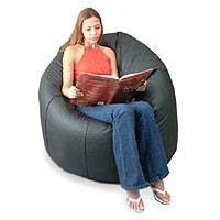 Leather beanbag chair cover, 'Night' (single) - Leather beanbag chair cover (Single)