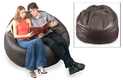 Leather beanbag chair cover, 'Family' (double) - Leather beanbag chair cover (Double)