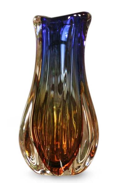 Murano Inspired Handblown Vase Rainbow Tulip Novica