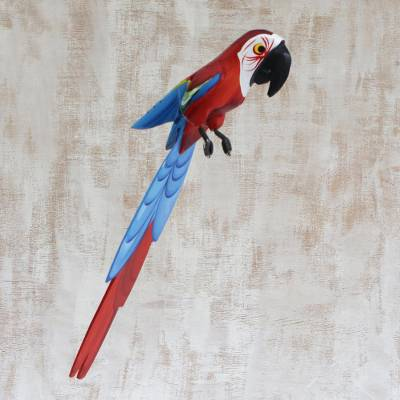 Unique Wooden Red and Blue Macaw Sculpture from Brazil