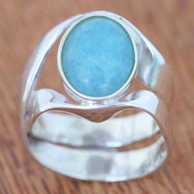 Wood plank wall herringbone pattern - Sterling Silver and Aquamarine Ring from Brazil