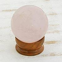 Rose quartz love crystal ball (small) - Hand Made Rose Quartz Sculpture (Small)