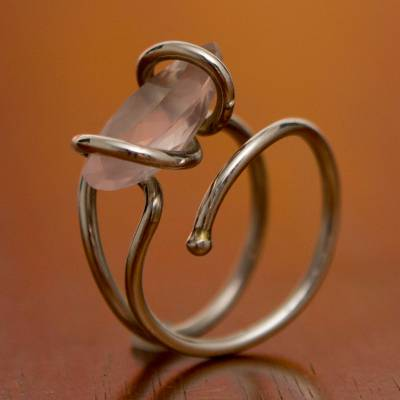 wide silver ring womens leather - Rose quartz cocktail ring