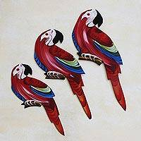 Wood wall adornments Macaw Trio red and blue Brazil
