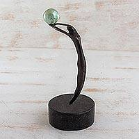 Bronze sculpture, 'Gymnast' (oxidized) - Bronze sculpture (Oxidized)