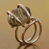 Smoky quartz cocktail ring, 'My Princess' - Smoky Quartz Solitaire Cocktail Ring