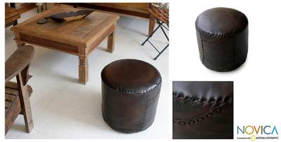 Leather ottoman cover, 'Litoral Coffee' - Contemporary Leather Ottoman Cover