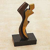 Bronze sculpture, 'Passion' - Modern Abstract Bronze Sculpture of a Couple in Love