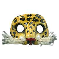 Leather mask, 'Spotted Jaguar' - Unique Leather Wild Cat Mask
