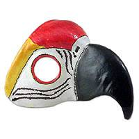 Leather mask, 'Scarlet Macaw' - Leather Carnaval Bird Mask