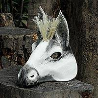 Leather mask, 'White Horse' - Leather Carnaval Horse Mask