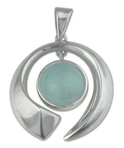 Fair Trade Modern Fine Silver Aquamarine Pendant