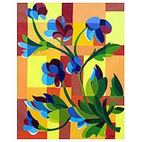 Flower Grid - Acrylic on Canvas Original Painting from Brazil