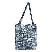 Shoulder bag, 'Dark Dalmatian' - Shoulder bag