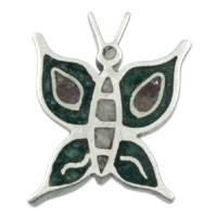 Rubelite and fuchsite pendant, 'Lucky Butterfly' - Rubelite and fuchsite pendant