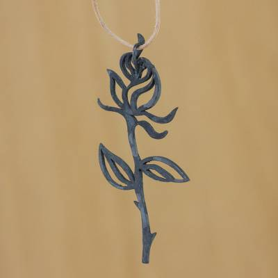 Leather necklace, 'Rose Exotica' - Floral Leather and Silver Necklace