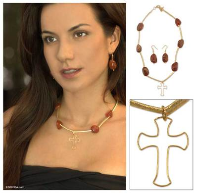 Gold plated jewelry set, 'Agate Cross' - Gold plated jewelry set