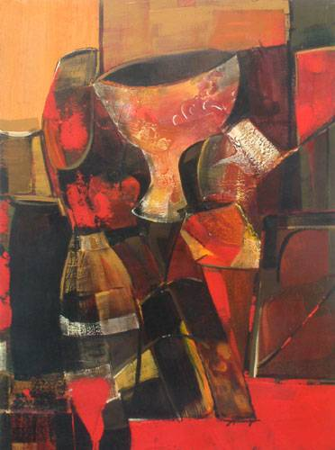 Unicef market acrylic cubist painting memories of spain