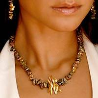 Gold plated jewelry set, 'Splendor of Brazil' - Brazilian Necklace and Earrings Jewelry Set