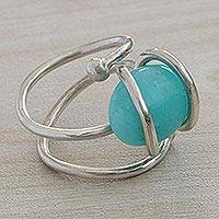 Amazonite cocktail ring, 'Amazon Treasure' - Modern Abstract Brazilian Silver and Amazonite Cocktail Ring