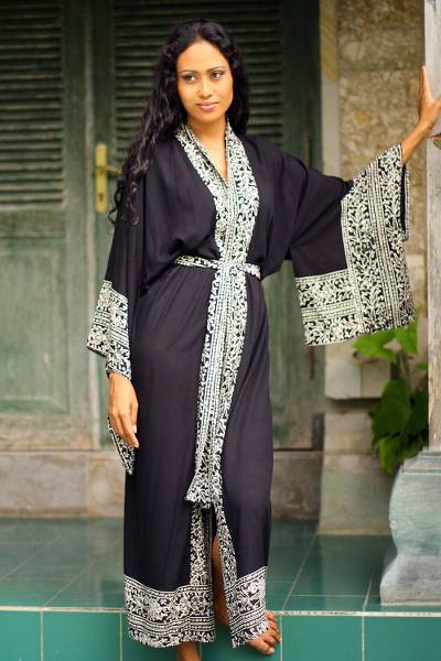 Batik robe, 'Midnight Rose' - Indonesian Floral Patterned Black and White Robe