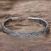 Men's sterling silver cuff bracelet, 'Warrior' - Men's Silver Cuff Bracelet