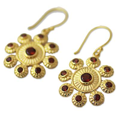 Gold plated garnet dangle earrings, 'Radiant Flowers' - Gold Plated Sterling Silver Garnet Gemstone Dangle Earrings