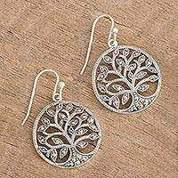 Marcasite dangle earrings, 'Irish Tree of Life' - Irish Tree of Life Earrings with Marcasite