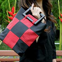 Silk handbag, 'Checkers' - Dramatic Red and Black Silk Handbag