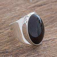 Jade cocktail ring, 'Truth and Life in Black' - Handmade Black Jade Men's Ring from Guatemala