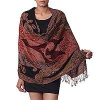 Jamawar wool shawl, 'Mughal Exuberance' - Multi Colored Wool Jamawar Shawl Wrap