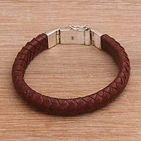 Men's leather and sterling silver wristband bracelet, 'Shrine Weave in Brown' - Men's Brown Leather Braided Wristband Bracelet from Bali
