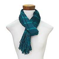 Rayon scarf, 'Sweet Mystique' - Hand Woven Striped Rayon Wrap Scarf from Guatemala