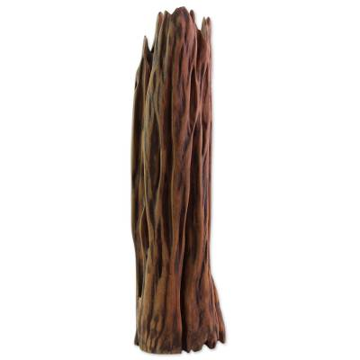 Reclaimed wood sculpture, 'Jungle Fire' - Handcrafted Driftwood Sculpture Natural Finish from India