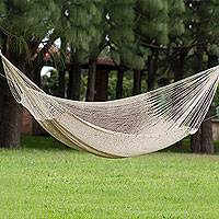 Cotton hammock, 'Caribbean Beach' (double) - Hand Crafted Solid White Cotton Mayan Hammock (Double)
