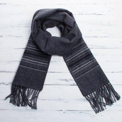 Men's alpaca blend scarf, 'Andes in Storm Clouds' - Fair Trade Woven Dark Gray Alpaca Blend Scarf for Men