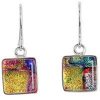 Dichroic glass dangle earrings,